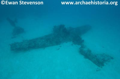 This Grumman TBF-1 Avenger was discovered by Archaehistoria in 70 feet of water off Choiseul's South East coast not far from Boeboe village on November 18, 2011, and could be Ensign's Keith Hollandsworth's plane.