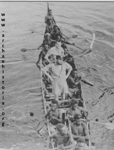 The original caption to this photo says this is coast watchers at Choiseul approaching 44-P-8 in March 1943.