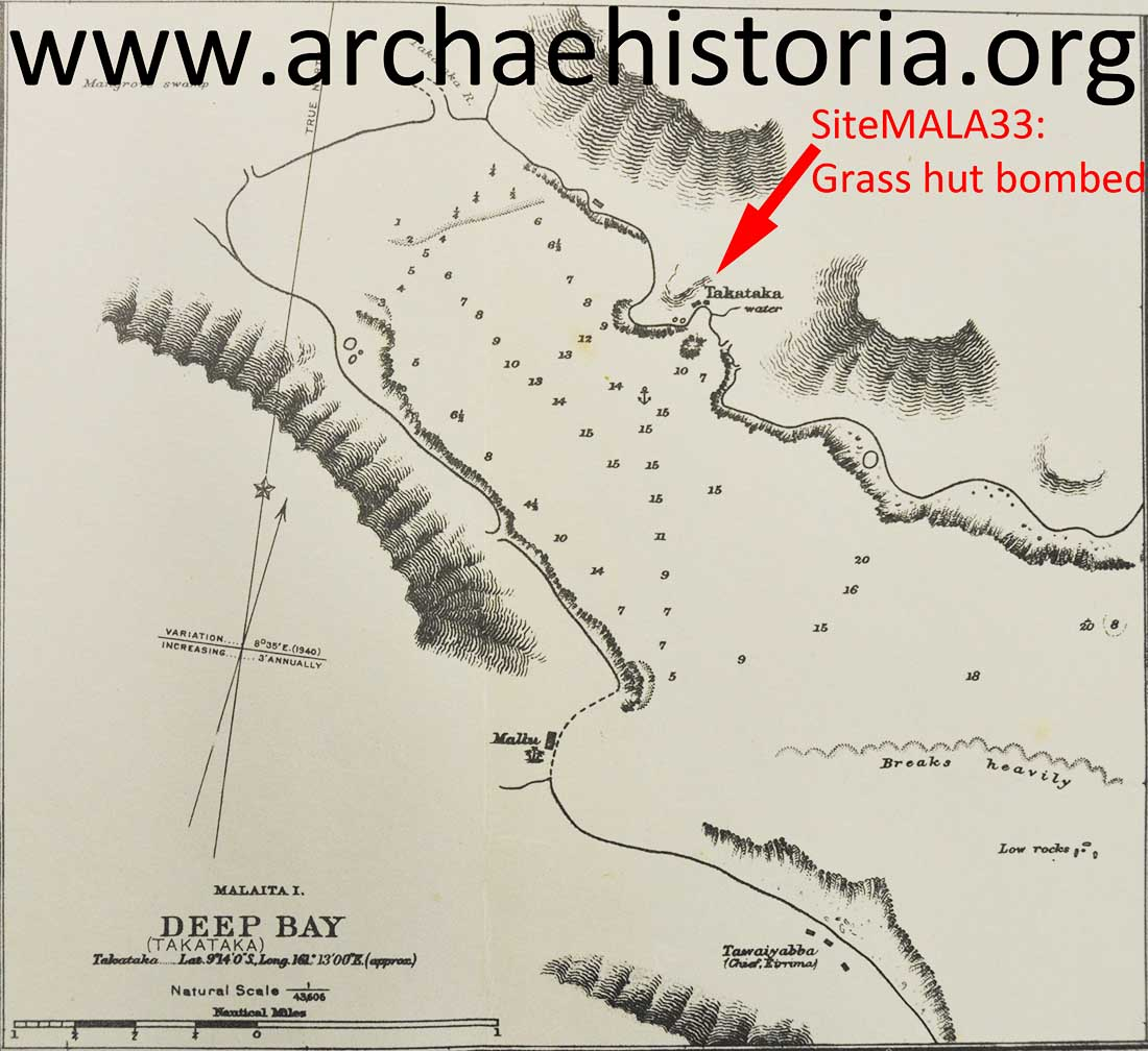 Takataka Bay Grass hut bombed and destroyed