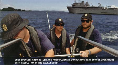 Conducting boat operations with HMNZS Resolution in the backgroundr
